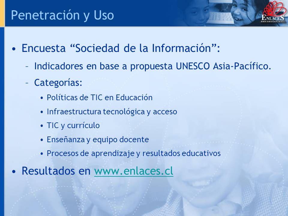 Penetración y Uso Encuesta Sociedad de la Información: –Indicadores en base a propuesta UNESCO Asia-Pacífico. –Categorías: Políticas de TIC en Educaci