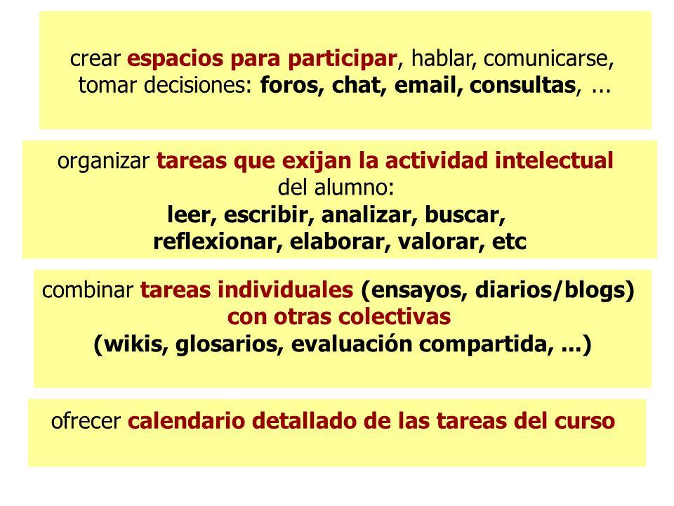 crear espacios para participar, hablar, comunicarse, tomar decisiones: foros, chat, email, consultas,...