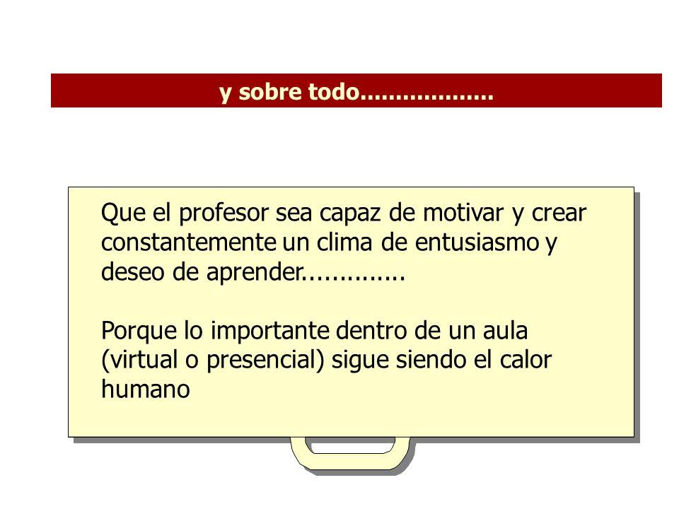 Que el profesor sea capaz de motivar y crear constantemente un clima de entusiasmo y deseo de aprender..............