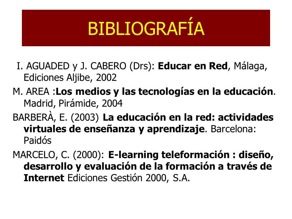 BIBLIOGRAFÍA JI. AGUADED y J. CABERO (Drs): Educar en Red, Málaga, Ediciones Aljibe, 2002 M.