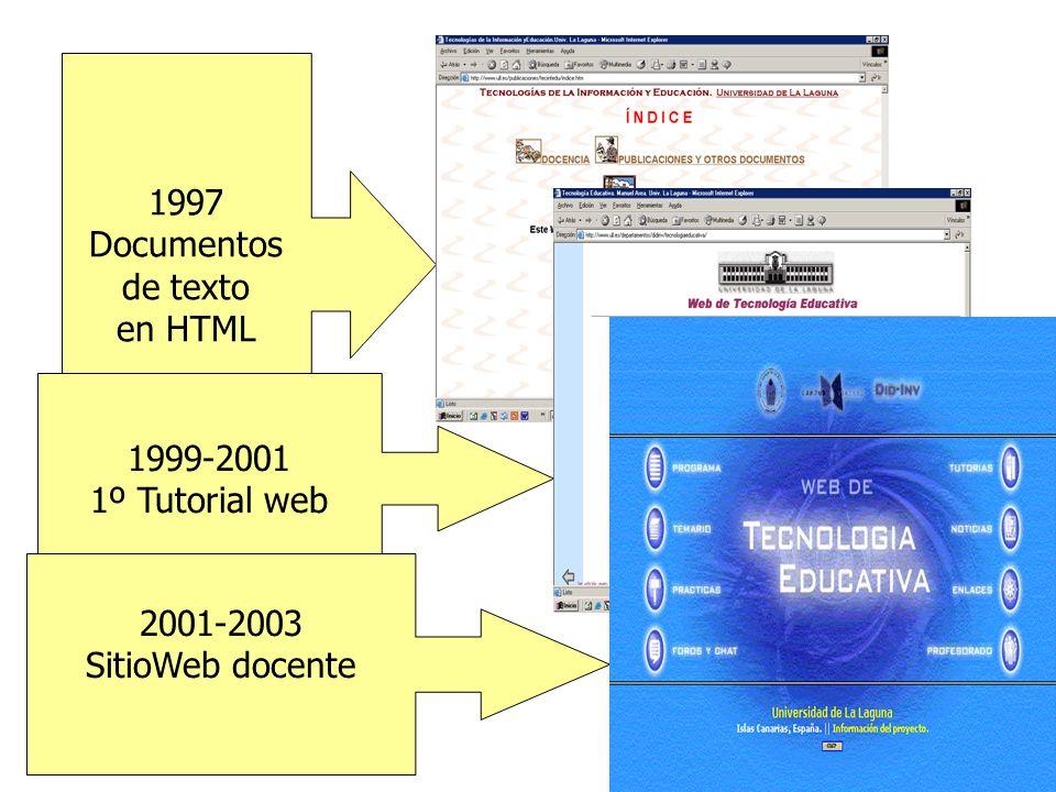 1997 Documentos de texto en HTML 1999-2001 1º Tutorial web 2001-2003 SitioWeb docente
