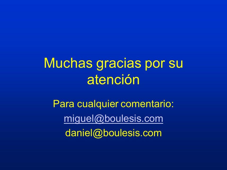 Muchas gracias por su atención Para cualquier comentario: miguel@boulesis.com daniel@boulesis.com