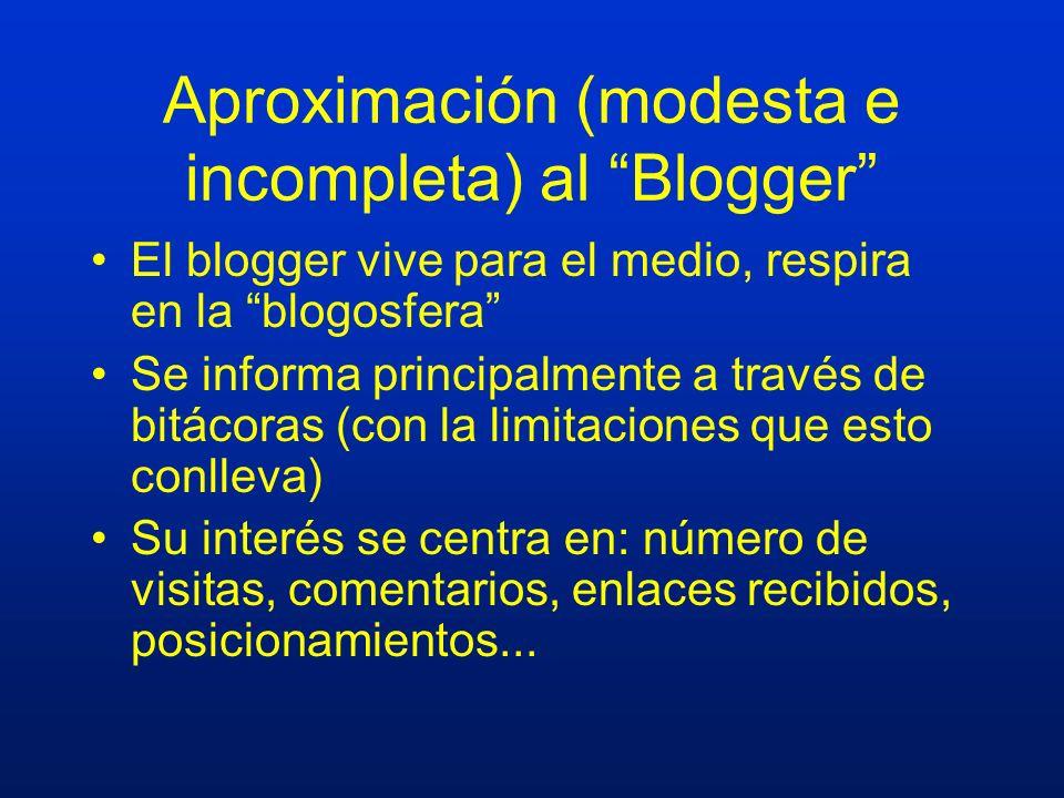 Aproximación (modesta e incompleta) al Blogger El blogger vive para el medio, respira en la blogosfera Se informa principalmente a través de bitácoras