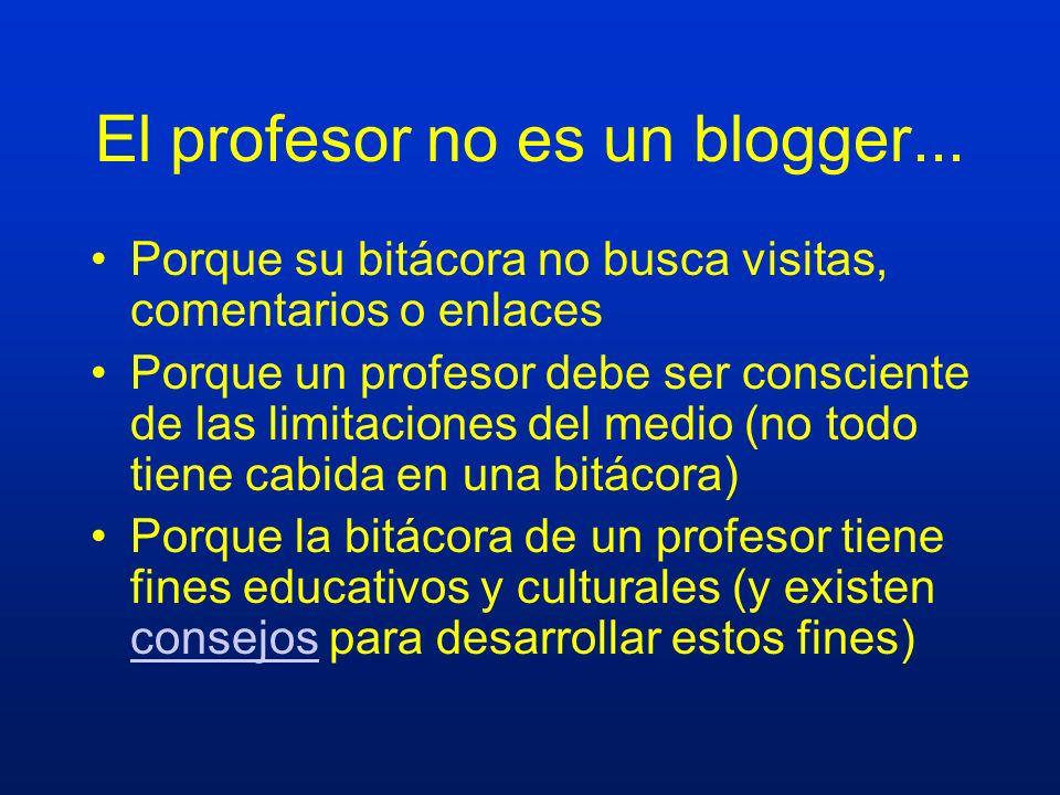 El profesor no es un blogger... Porque su bitácora no busca visitas, comentarios o enlaces Porque un profesor debe ser consciente de las limitaciones