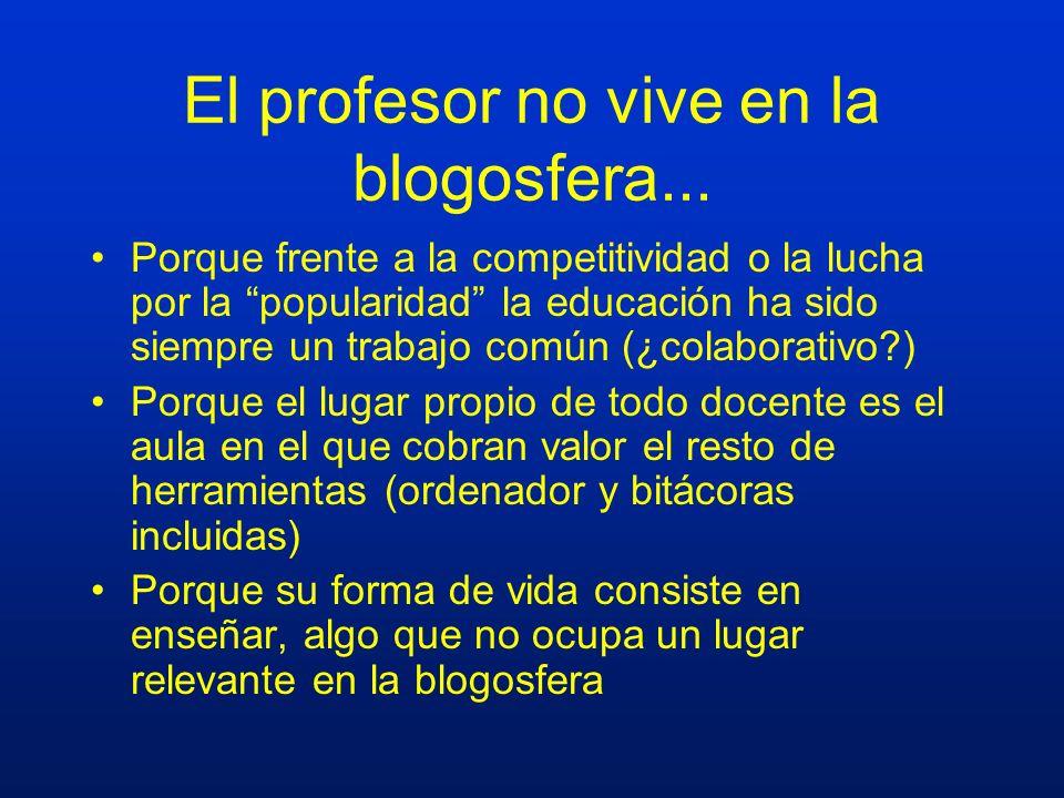 El profesor no vive en la blogosfera... Porque frente a la competitividad o la lucha por la popularidad la educación ha sido siempre un trabajo común