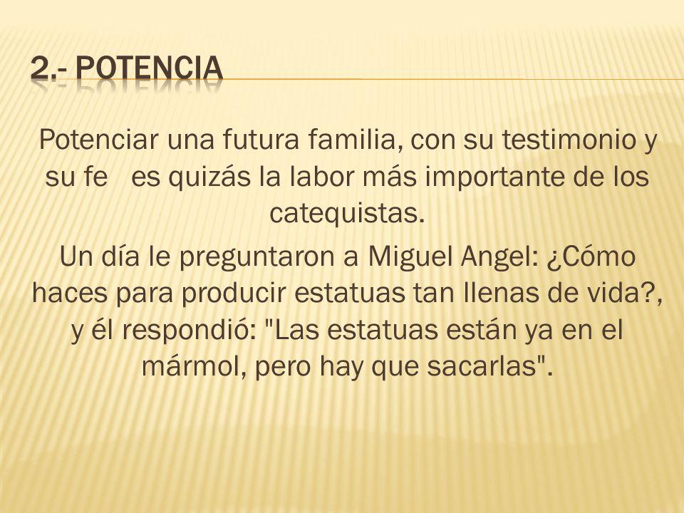 Potenciar una futura familia, con su testimonio y su fe es quizás la labor más importante de los catequistas. Un día le preguntaron a Miguel Angel: ¿C
