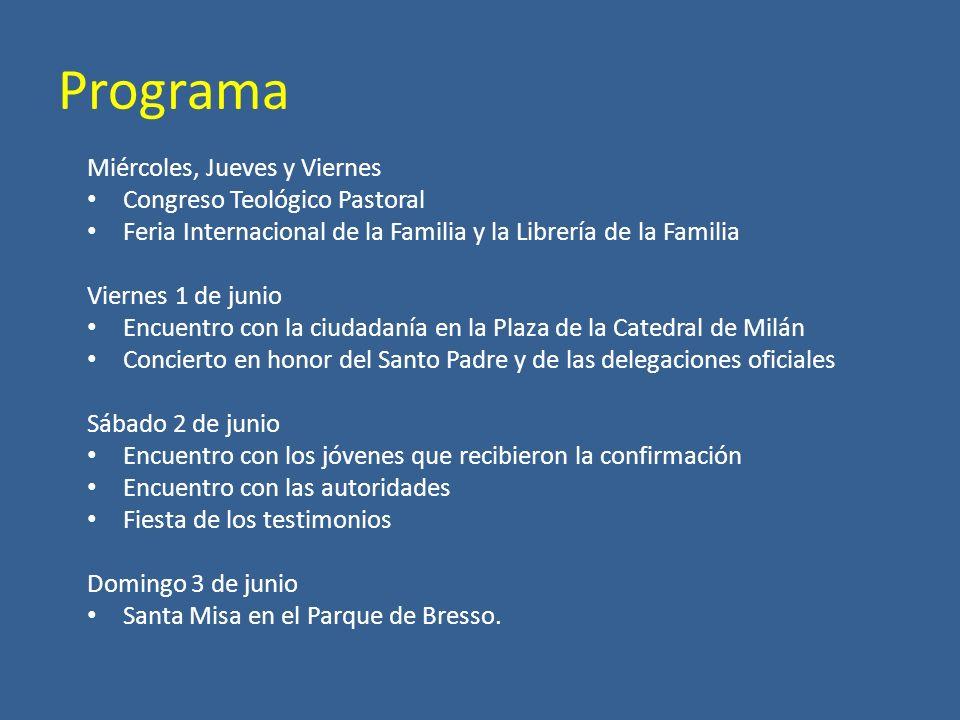 Programa Miércoles, Jueves y Viernes Congreso Teológico Pastoral Feria Internacional de la Familia y la Librería de la Familia Viernes 1 de junio Encu
