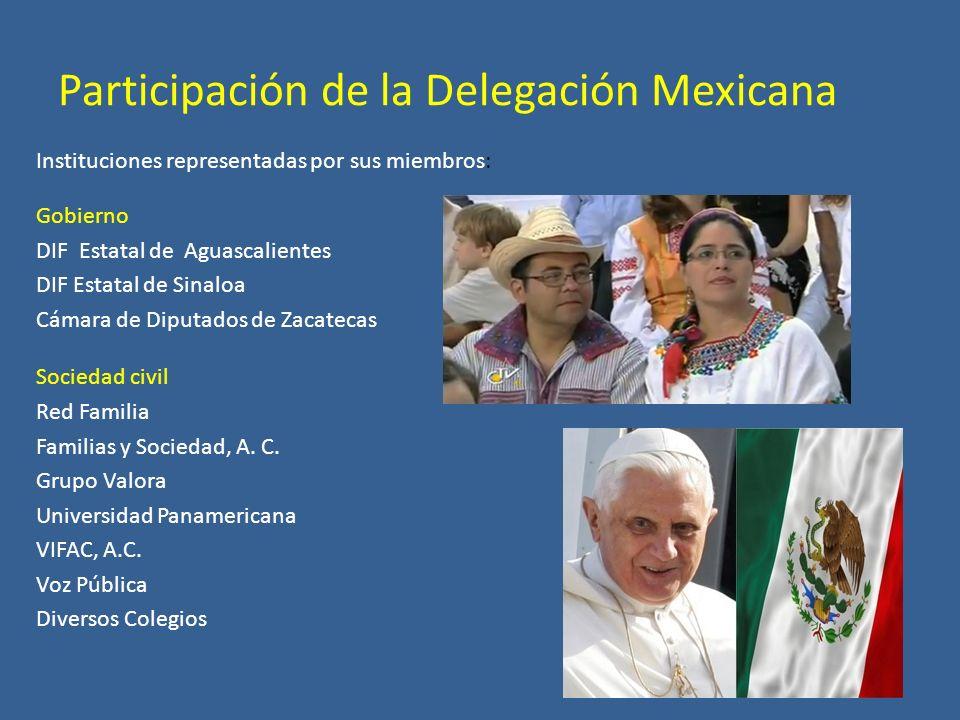 Participación de la Delegación Mexicana Instituciones representadas por sus miembros: Gobierno DIF Estatal de Aguascalientes DIF Estatal de Sinaloa Cámara de Diputados de Zacatecas Sociedad civil Red Familia Familias y Sociedad, A.