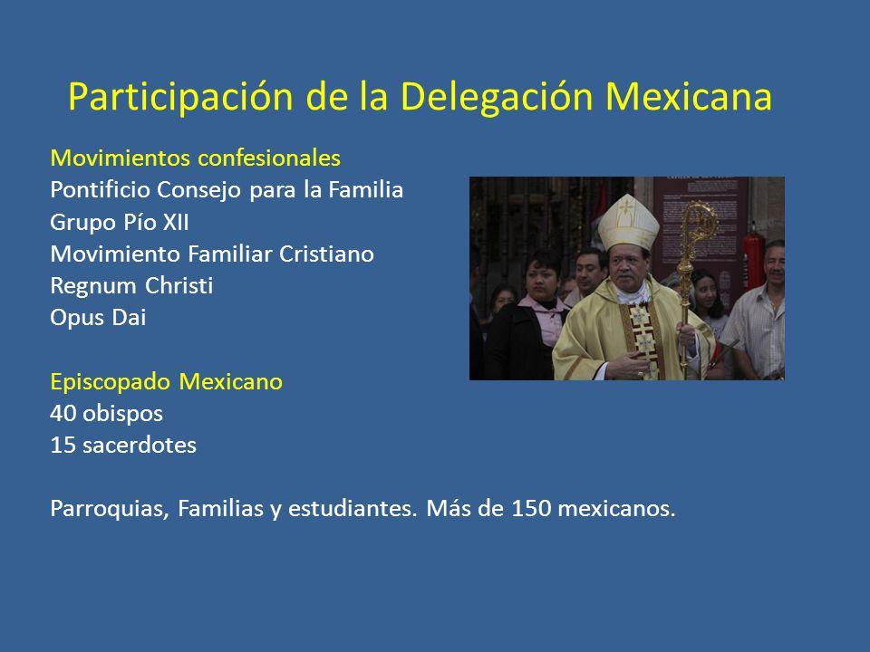 Movimientos confesionales Pontificio Consejo para la Familia Grupo Pío XII Movimiento Familiar Cristiano Regnum Christi Opus Dai Episcopado Mexicano 40 obispos 15 sacerdotes Parroquias, Familias y estudiantes.