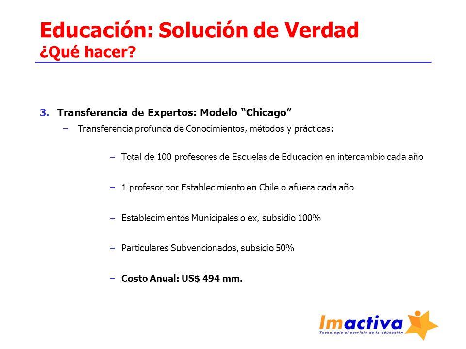 Educación: Solución de Verdad ¿Qué hacer? 3.Transferencia de Expertos: Modelo Chicago –Transferencia profunda de Conocimientos, métodos y prácticas: –