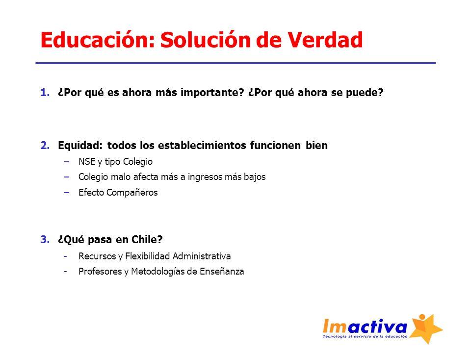 Educación: Solución de Verdad 4.Solución 1 –Está claro que los colegios particulares, subvencionados o no, lo hacen mejor.