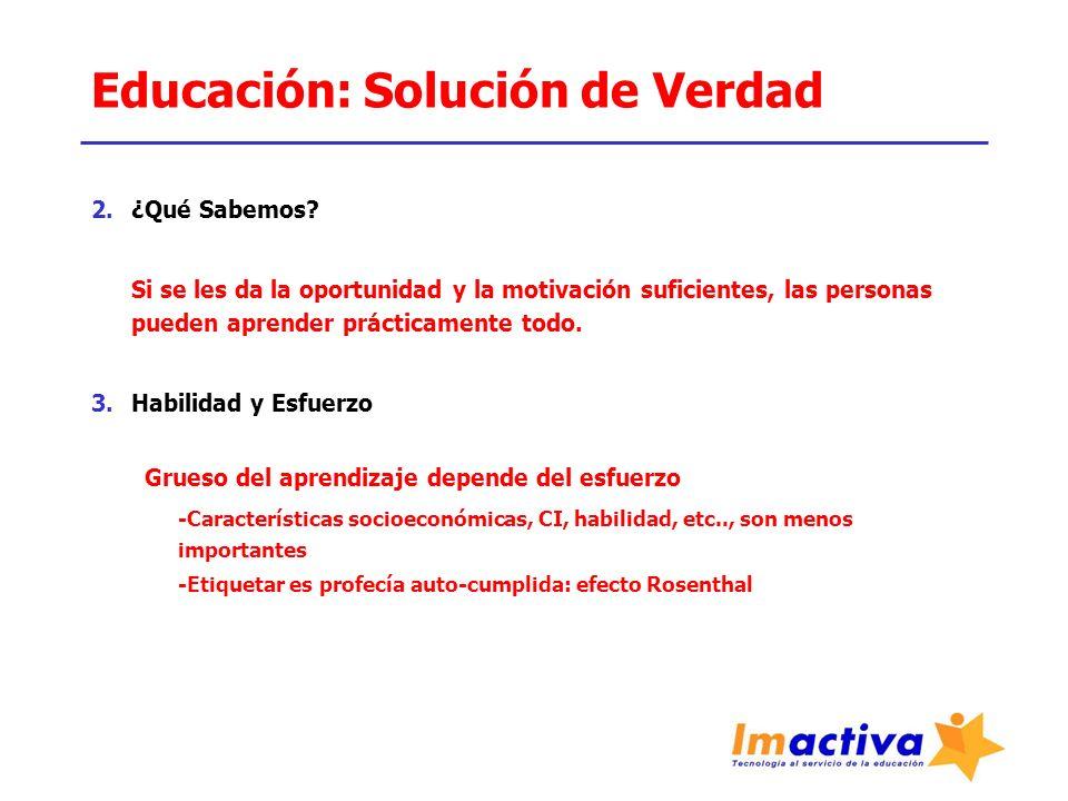 Educación: Solución de Verdad 2.¿Qué Sabemos? Si se les da la oportunidad y la motivación suficientes, las personas pueden aprender prácticamente todo
