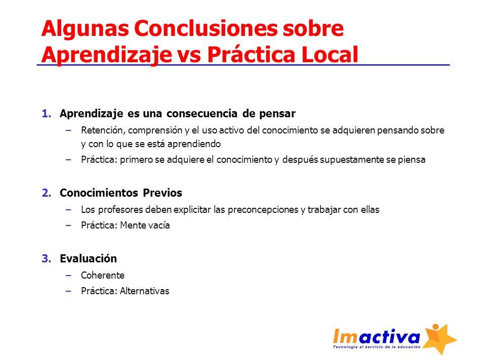 Algunas Conclusiones sobre Aprendizaje vs Práctica Local 1.Aprendizaje es una consecuencia de pensar –Retención, comprensión y el uso activo del conoc