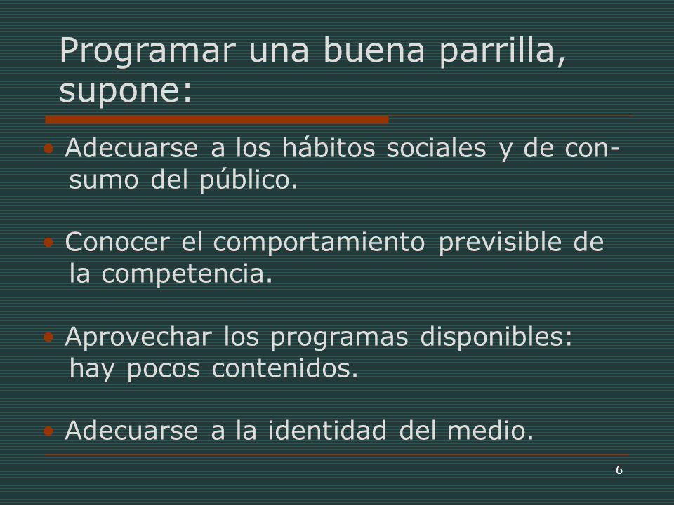 6 Programar una buena parrilla, supone: Adecuarse a los hábitos sociales y de con- sumo del público.