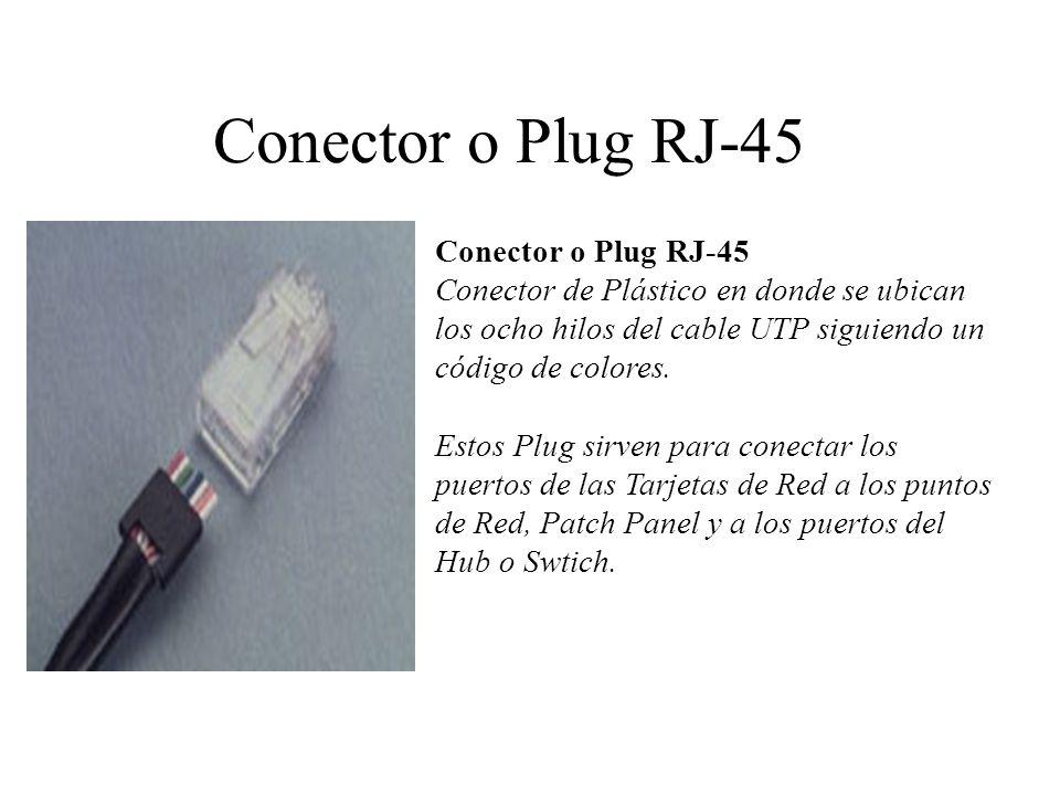 Conector o Plug RJ-45 (Ubicación de los cables en el conector) Deben cumplir los estándares de comunicación Universal.
