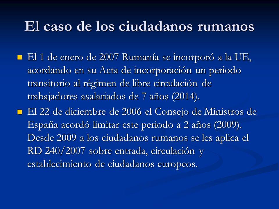 El caso de los ciudadanos rumanos El Acta de incorporación tiene previsto en su apartado 7 del Anexo VII la posibilidad de retomar el periodo transitorio una vez cancelado.
