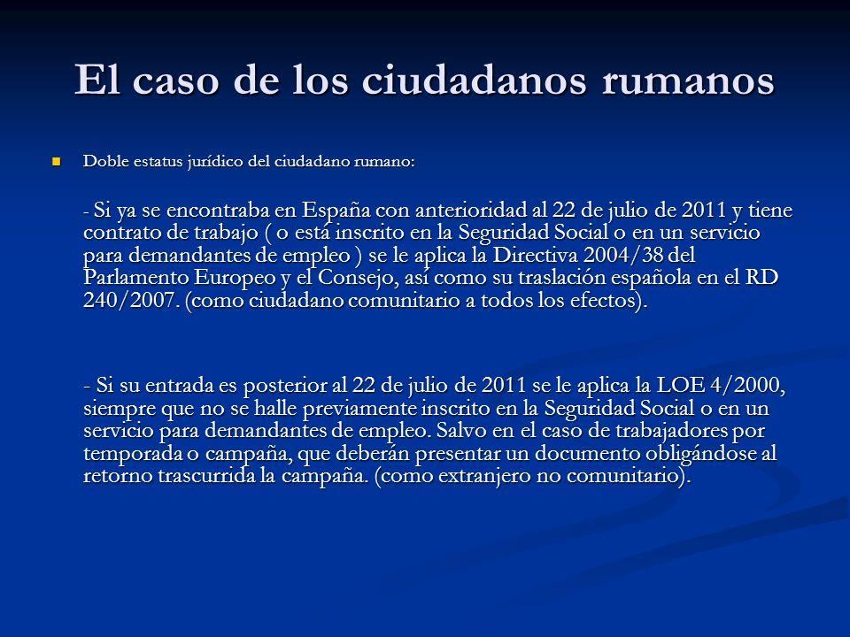 El caso de los ciudadanos rumanos Parece previsible que llegado el término del plazo (diciembre de 2012) el Gobierno prorrogue la Instrucción hasta 2014, límite máximo fijado en el Acta de Incorporación.