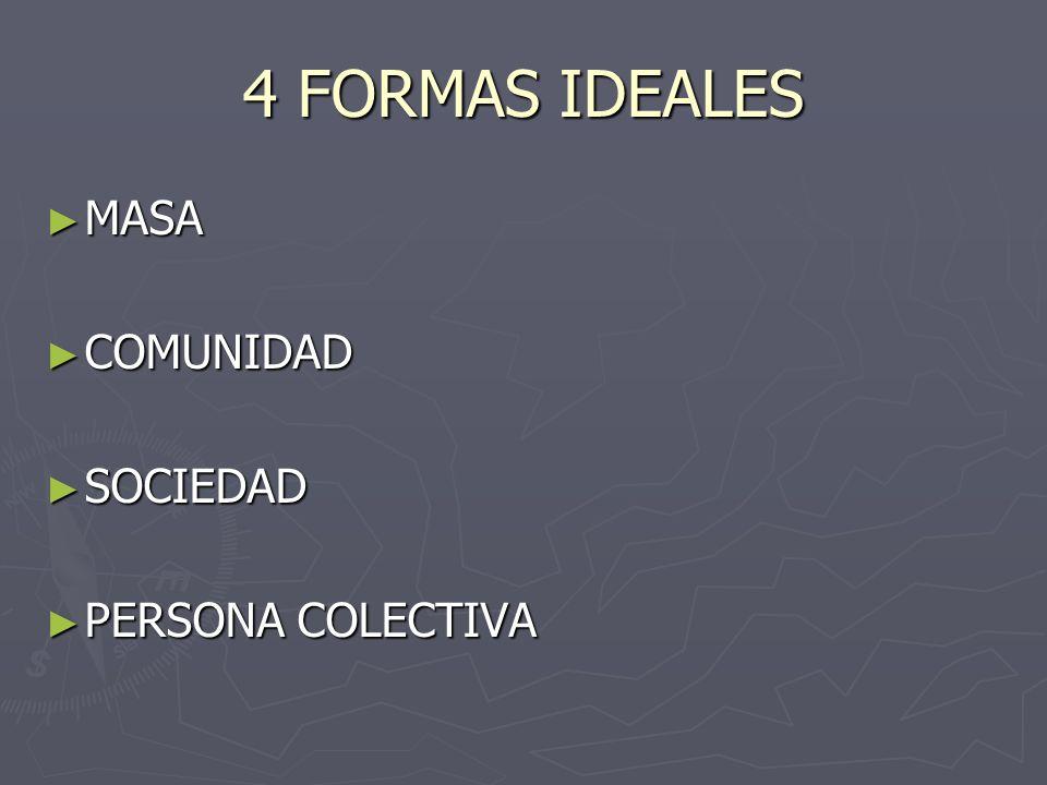 4 FORMAS IDEALES MASA MASA COMUNIDAD COMUNIDAD SOCIEDAD SOCIEDAD PERSONA COLECTIVA PERSONA COLECTIVA