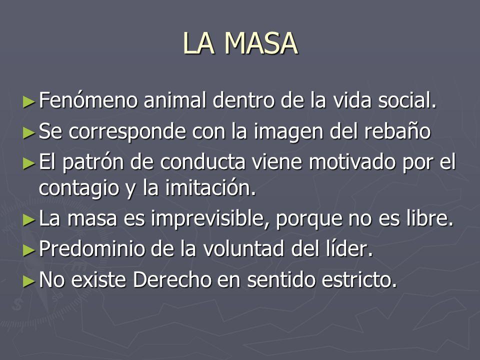 LA MASA Fenómeno animal dentro de la vida social. Fenómeno animal dentro de la vida social. Se corresponde con la imagen del rebaño Se corresponde con