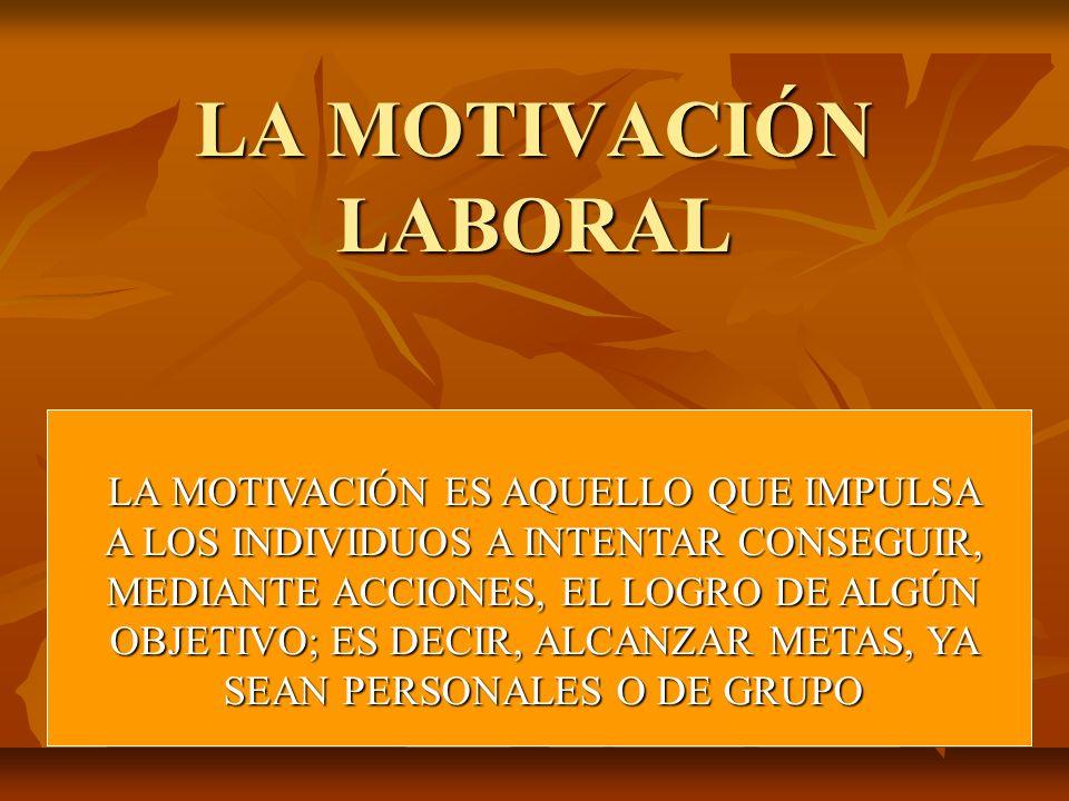 LA MOTIVACIÓN LABORAL LA MOTIVACIÓN ES AQUELLO QUE IMPULSA A LOS INDIVIDUOS A INTENTAR CONSEGUIR, MEDIANTE ACCIONES, EL LOGRO DE ALGÚN OBJETIVO; ES DE