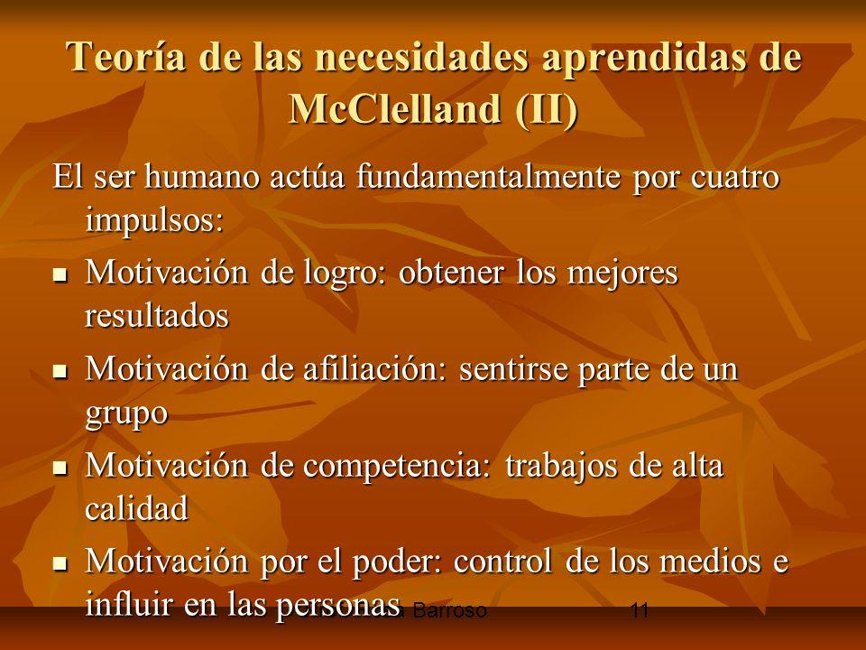 Prof. Rosa Barroso11 Teoría de las necesidades aprendidas de McClelland (II) El ser humano actúa fundamentalmente por cuatro impulsos: Motivación de l