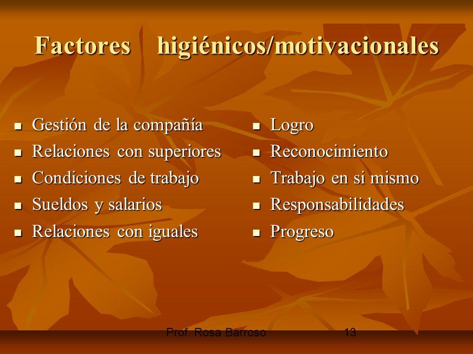 Prof. Rosa Barroso13 Factores higiénicos/motivacionales Gestión de la compañía Gestión de la compañía Relaciones con superiores Relaciones con superio