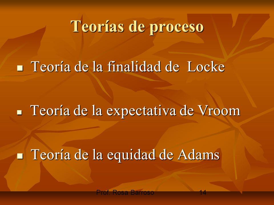 Prof. Rosa Barroso14 Teorías de proceso Teoría de la finalidad de Locke Teoría de la finalidad de Locke Teoría de la expectativa de Vroom Teoría de la