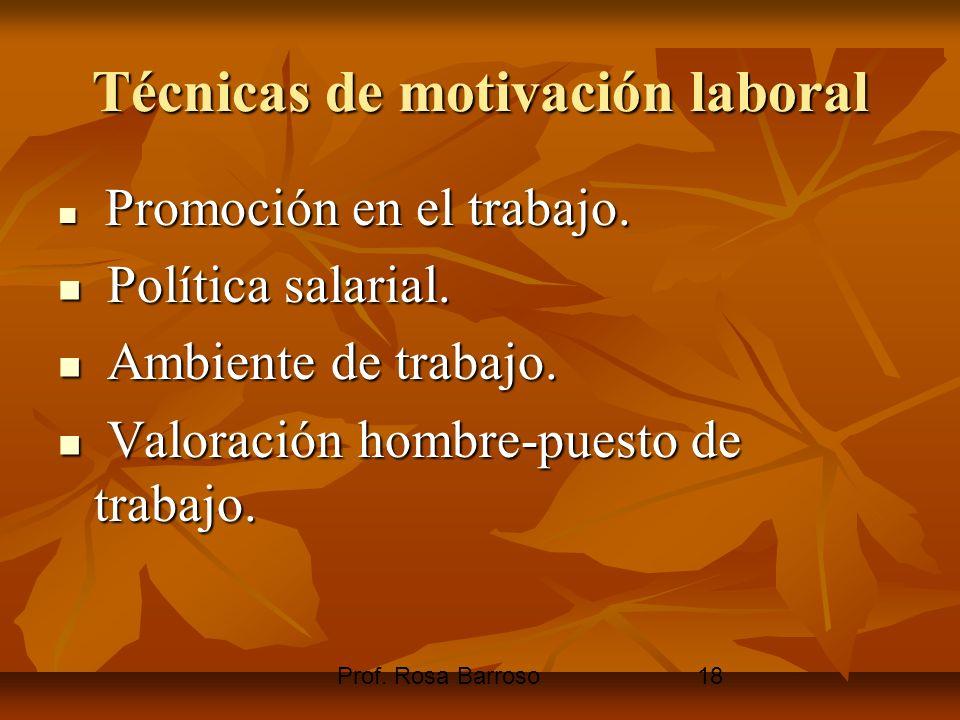 Prof. Rosa Barroso18 Técnicas de motivación laboral Promoción en el trabajo. Promoción en el trabajo. Política salarial. Política salarial. Ambiente d
