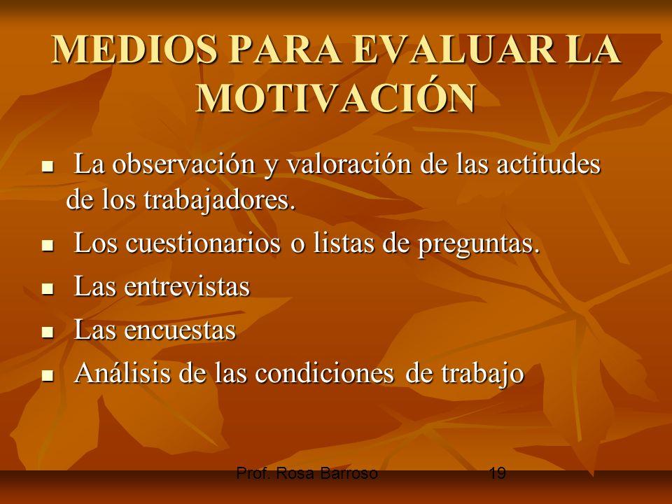 Prof. Rosa Barroso19 MEDIOS PARA EVALUAR LA MOTIVACIÓN La observación y valoración de las actitudes de los trabajadores. La observación y valoración d