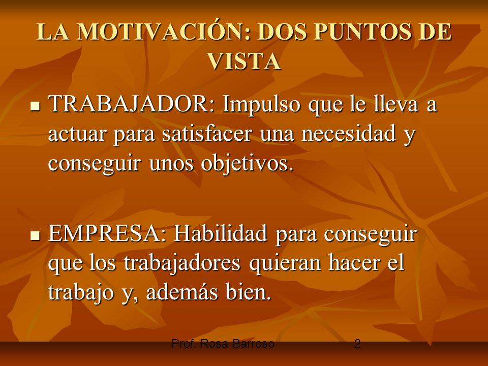 Prof. Rosa Barroso2 LA MOTIVACIÓN: DOS PUNTOS DE VISTA TRABAJADOR: Impulso que le lleva a actuar para satisfacer una necesidad y conseguir unos objeti