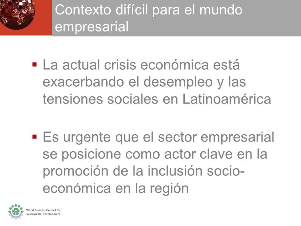 Contexto difícil para el mundo empresarial La actual crisis económica está exacerbando el desempleo y las tensiones sociales en Latinoamérica Es urgente que el sector empresarial se posicione como actor clave en la promoción de la inclusión socio- económica en la región
