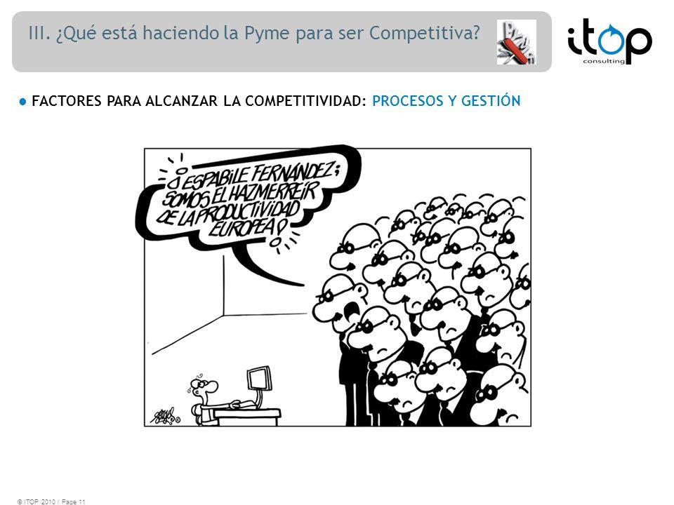 III. ¿Qué está haciendo la Pyme para ser Competitiva.