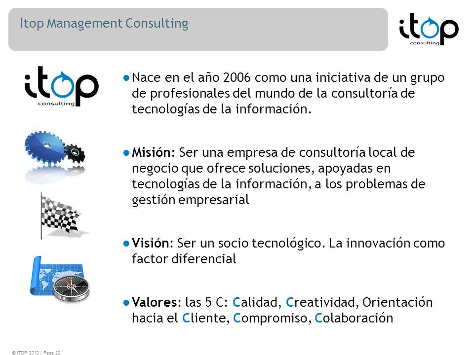 Itop Management Consulting © ITOP 2010 / Page 20 Nace en el año 2006 como una iniciativa de un grupo de profesionales del mundo de la consultoría de tecnologías de la información.