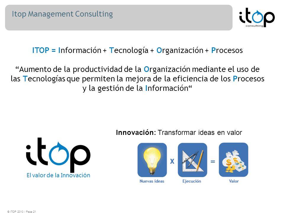 Itop Management Consulting © ITOP 2010 / Page 21 Innovación: Transformar ideas en valor ITOP = Información + Tecnología + Organización + Procesos Aumento de la productividad de la Organización mediante el uso de las Tecnologías que permiten la mejora de la eficiencia de los Procesos y la gestión de la Información