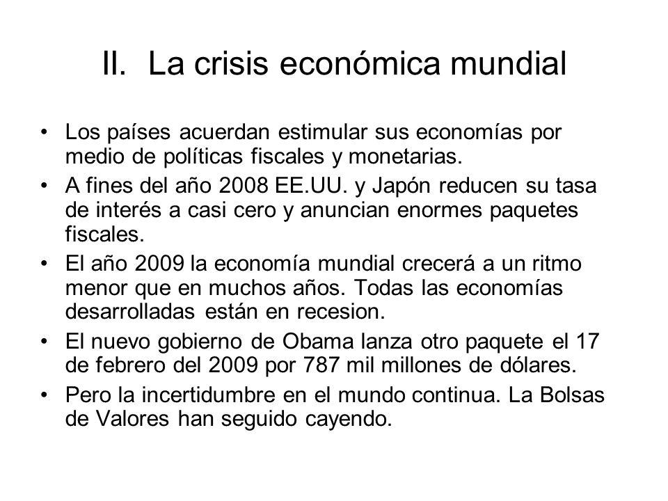 Los países acuerdan estimular sus economías por medio de políticas fiscales y monetarias. A fines del año 2008 EE.UU. y Japón reducen su tasa de inter