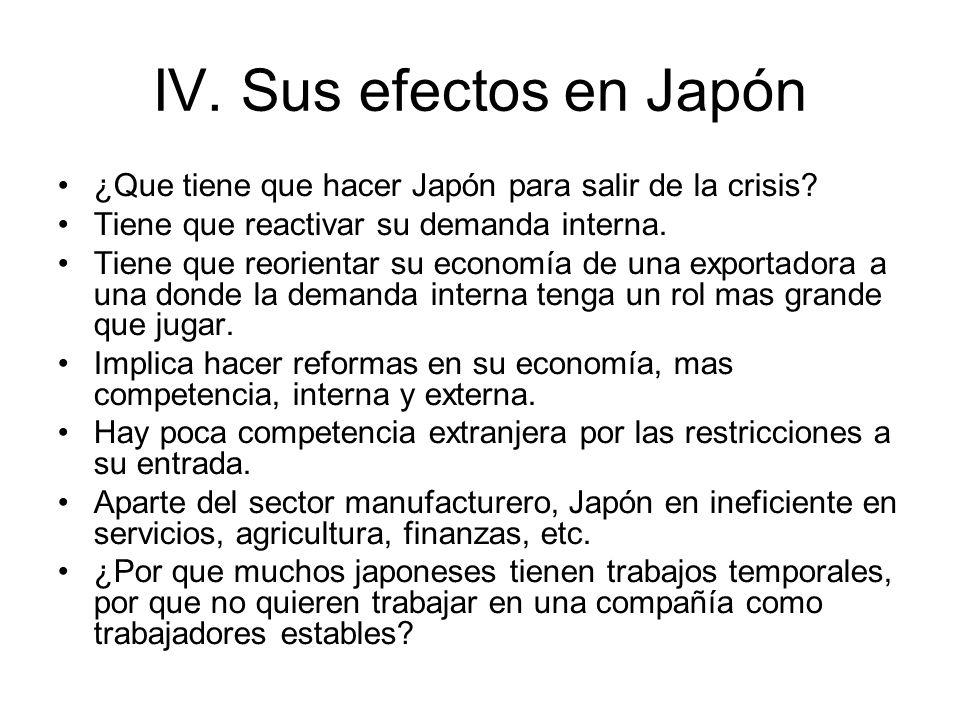 IV. Sus efectos en Japón ¿Que tiene que hacer Japón para salir de la crisis? Tiene que reactivar su demanda interna. Tiene que reorientar su economía