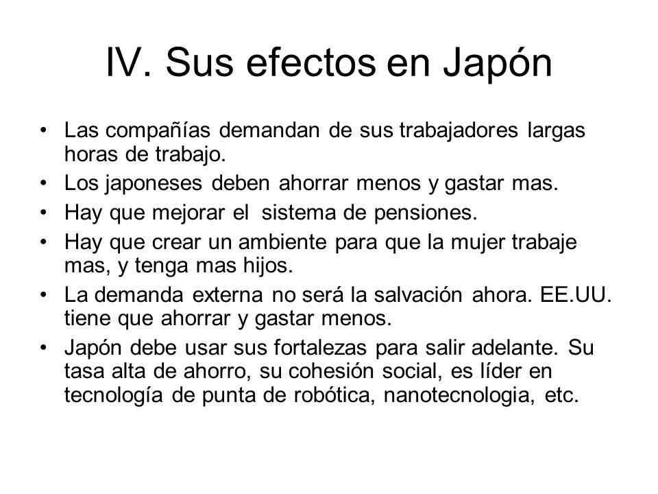 IV. Sus efectos en Japón Las compañías demandan de sus trabajadores largas horas de trabajo. Los japoneses deben ahorrar menos y gastar mas. Hay que m