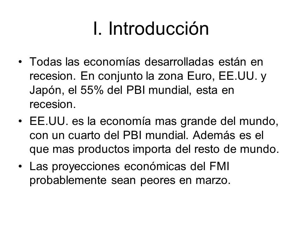 I. Introducción Todas las economías desarrolladas están en recesion. En conjunto la zona Euro, EE.UU. y Japón, el 55% del PBI mundial, esta en recesio