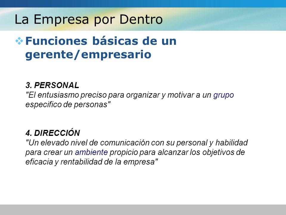 La Empresa por Dentro Funciones básicas de un gerente/empresario 3.