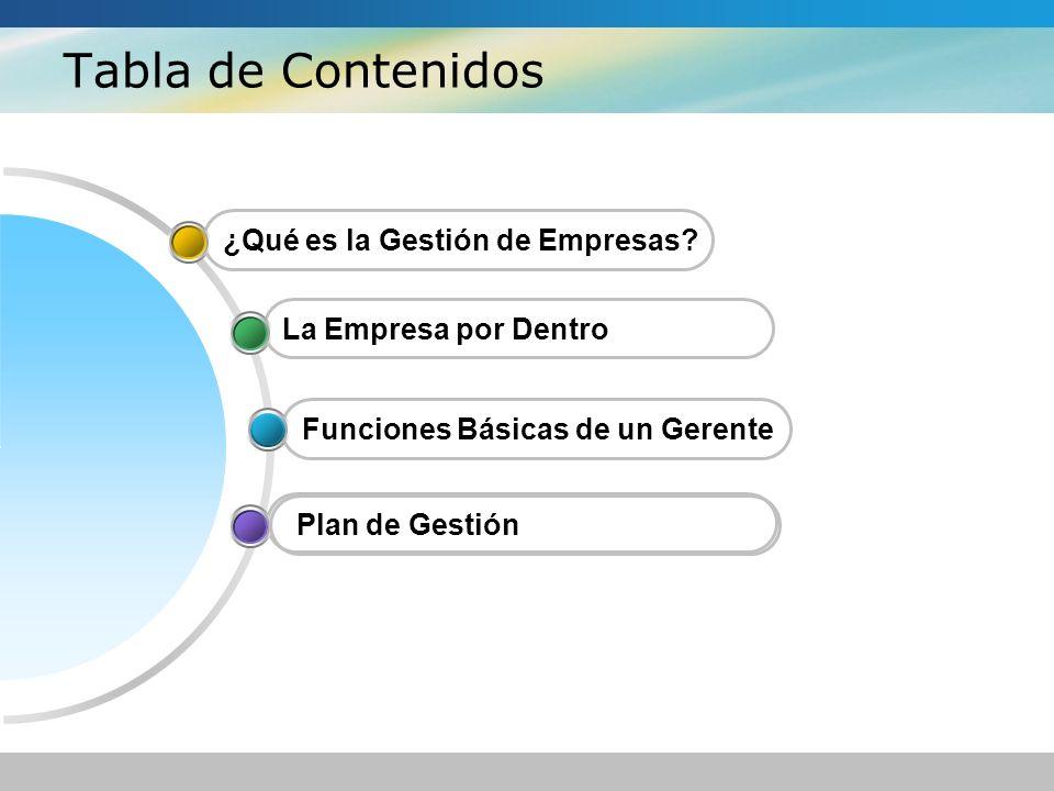 Tabla de Contenidos La Empresa por Dentro ¿Qué es la Gestión de Empresas? Funciones Básicas de un Gerente Plan de Gestión