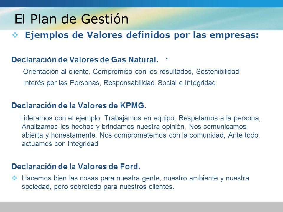 El Plan de Gestión Ejemplos de Valores definidos por las empresas: Declaración de Valores de Gas Natural. * Orientación al cliente, Compromiso con los