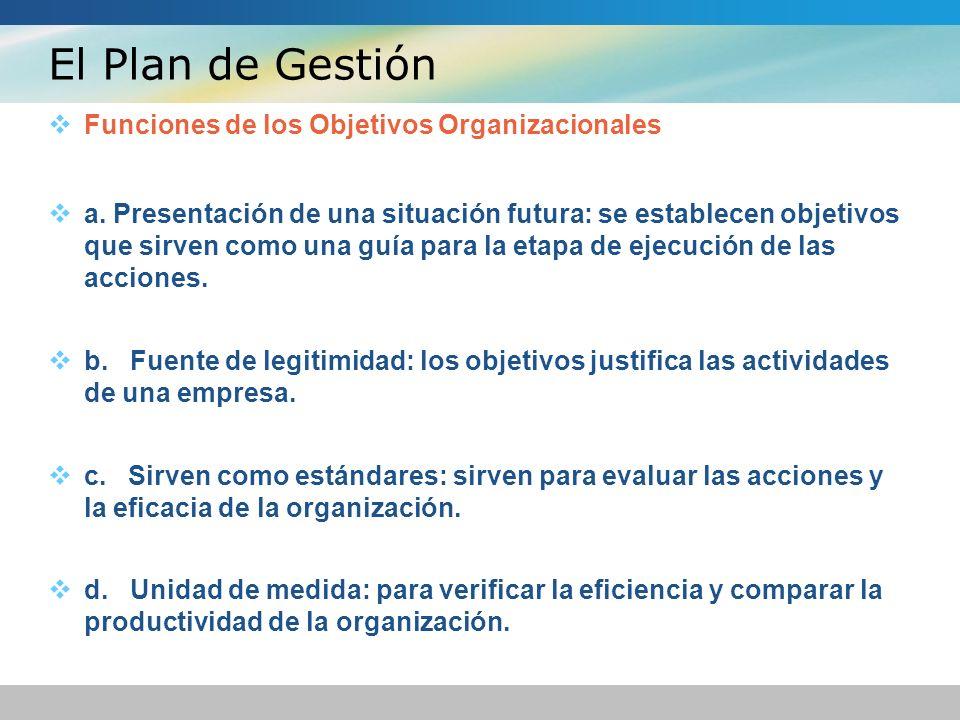 El Plan de Gestión Funciones de los Objetivos Organizacionales a. Presentación de una situación futura: se establecen objetivos que sirven como una gu