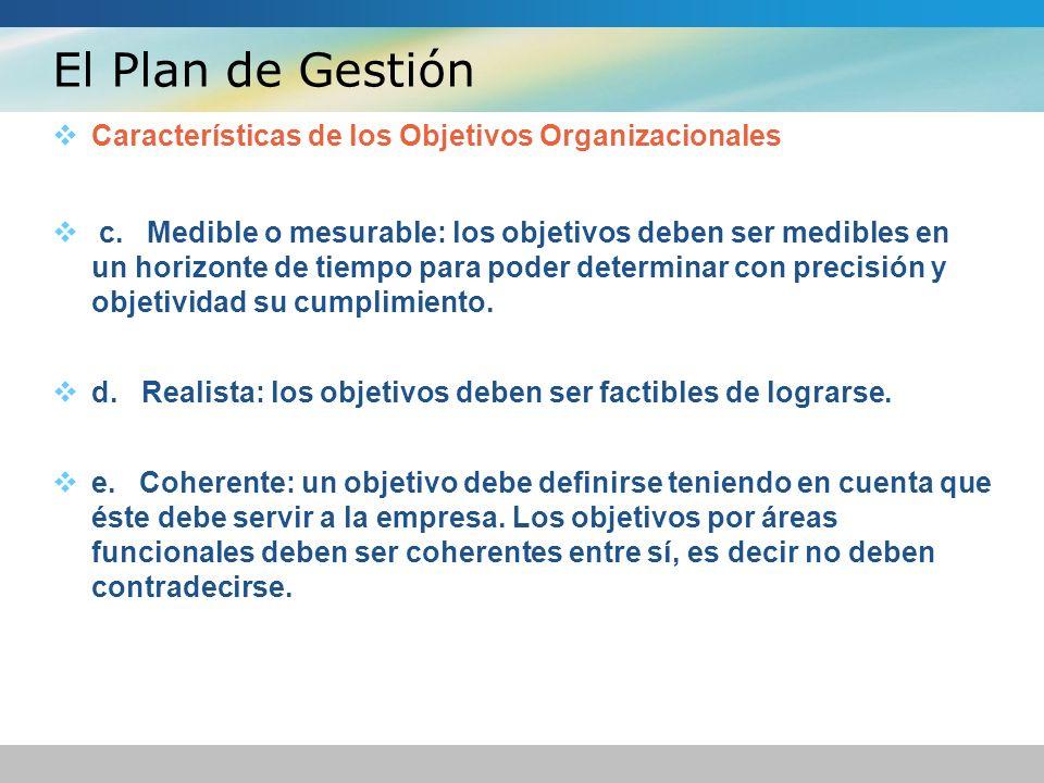 El Plan de Gestión Características de los Objetivos Organizacionales c. Medible o mesurable: los objetivos deben ser medibles en un horizonte de tiemp