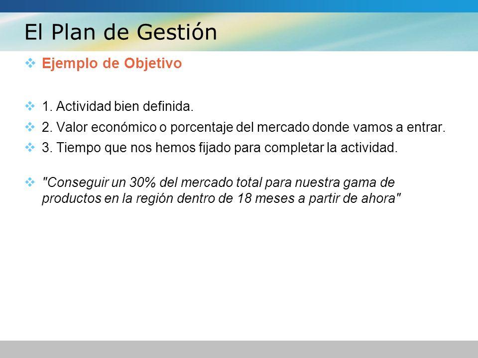 El Plan de Gestión Ejemplo de Objetivo 1. Actividad bien definida.