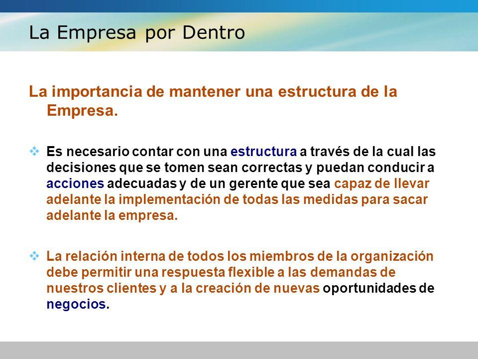La Empresa por Dentro La importancia de mantener una estructura de la Empresa. Es necesario contar con una estructura a través de la cual las decision