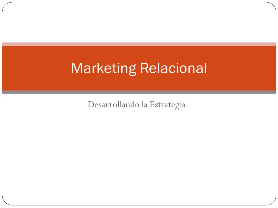 Desarrollando la Estrategia Marketing Relacional