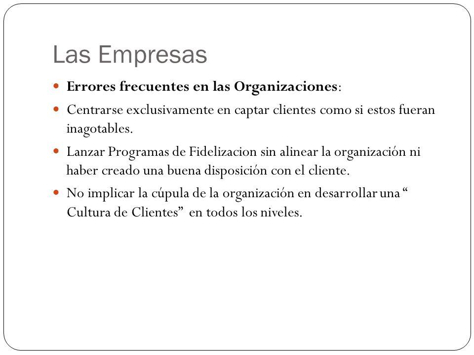 Las Empresas Errores frecuentes en las Organizaciones: Centrarse exclusivamente en captar clientes como si estos fueran inagotables.