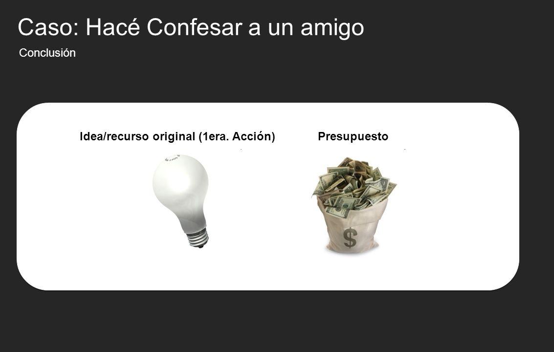 Conclusión Idea/recurso original (1era. Acción)Presupuesto Caso: Hacé Confesar a un amigo