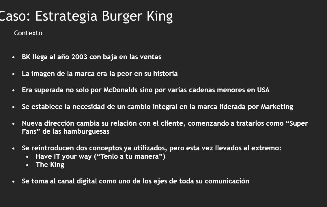 Contexto BK llega al año 2003 con baja en las ventas La imagen de la marca era la peor en su historia Era superada no solo por McDonalds sino por vari