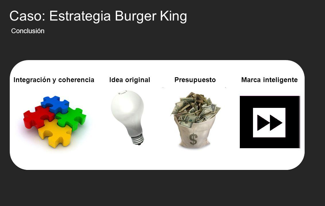 Conclusión Idea originalPresupuesto Caso: Estrategia Burger King Integración y coherenciaMarca inteligente